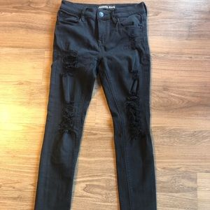 EXPRESS RIPPED BLACK JEGGINGS